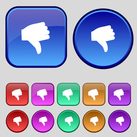 thumb down icon: Dislike, Thumb down icon sign. A set of twelve vintage buttons for your design. Vector illustration Illustration