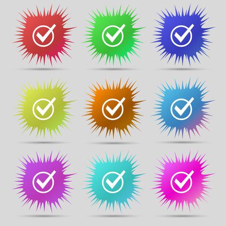 Check mark, tik icon sign. A set of nine original needle buttons. Vector illustration