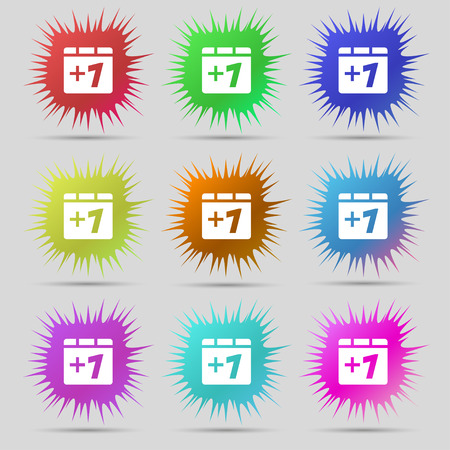 append: Plus one, Add one icon sign. A set of nine original needle buttons. Vector illustration Illustration