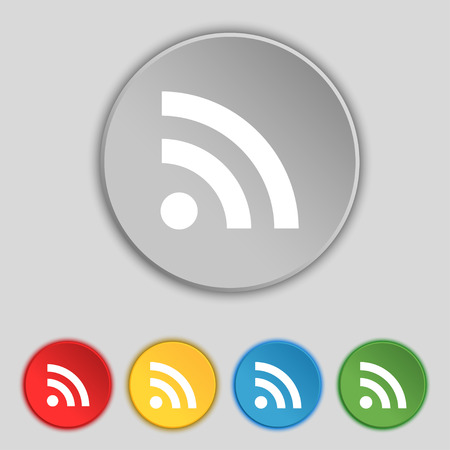 rss feed icon: RSS feed icon sign. Symbol on five flat buttons. Vector illustration