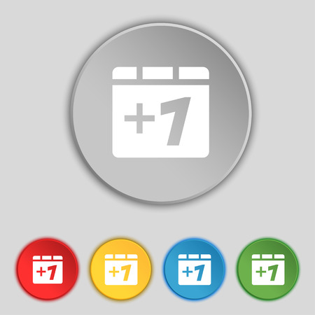 append: Plus one, Add one icon sign. Symbol on five flat buttons. Vector illustration