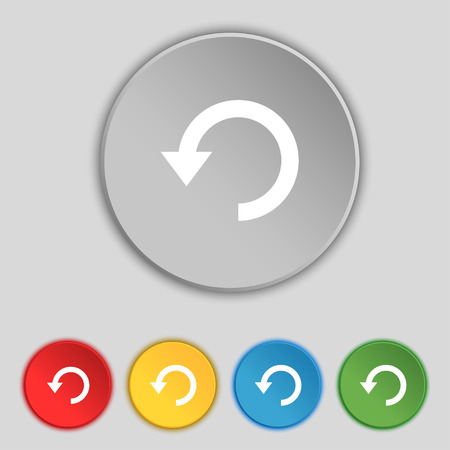 groupware: Upgrade, arrow, update icon sign. Symbol on five flat buttons. Vector illustration