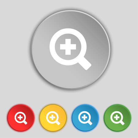 interface menu tool: Magnifier glass, Zoom tool icon sign. Symbol on five flat buttons. Vector illustration Illustration