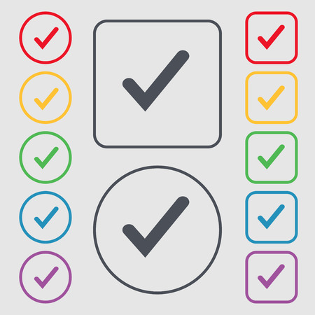 background check: Check mark, tik icon sign. symbol on the Round and square buttons with frame. Vector illustration