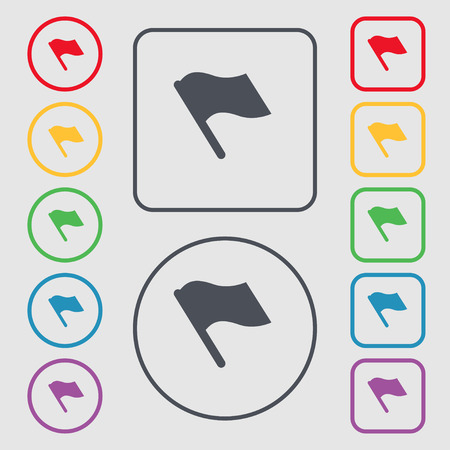abort: Finish, start flag icon sign. symbol on the Round and square buttons with frame. Vector illustration