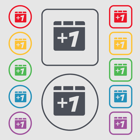 append: Plus one, Add one icon sign. symbol on the Round and square buttons with frame. Vector illustration