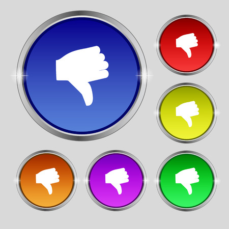 thumb down icon: Dislike, Thumb down icon sign. Round symbol on bright colourful buttons. Vector illustration