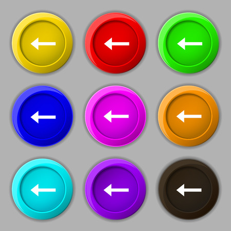 way out: Arrow left, Way out icon sign. symbol on nine round colourful buttons. Vector illustration Illustration