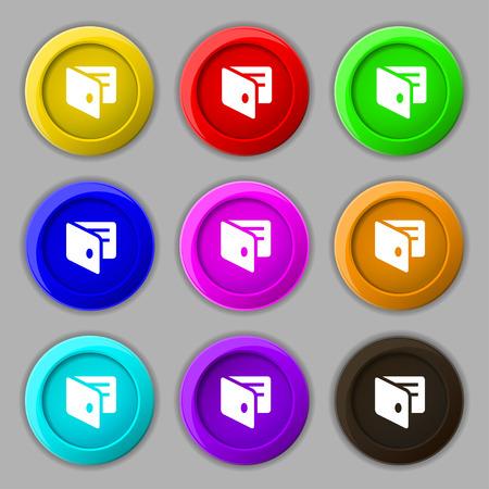 card holder: eWallet, Electronic wallet, Business Card Holder icon sign. symbol on nine round colourful buttons. Vector illustration Illustration