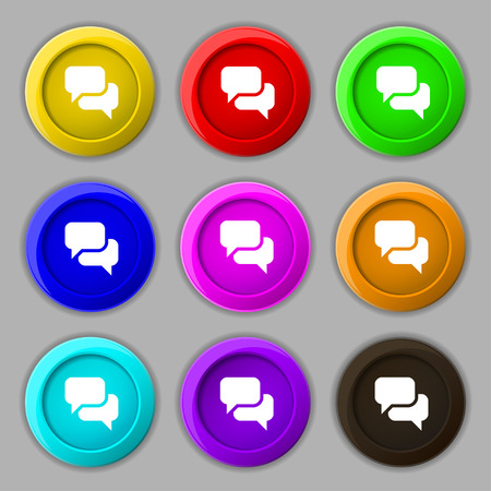 on cloud nine: Speech bubble, Think cloud icon sign. symbol on nine round colourful buttons. Vector illustration Illustration
