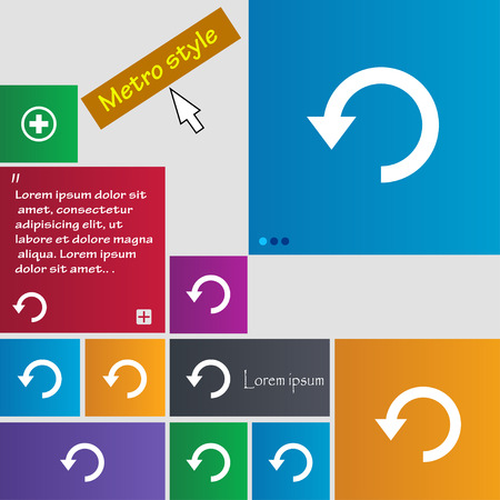 groupware: Upgrade, arrow, update icon sign. Metro style buttons. Modern interface website buttons with cursor pointer. Vector illustration