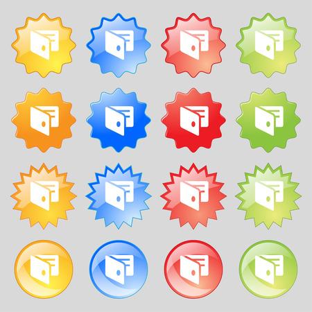 business card holder: eWallet, monedero electr�nico, tarjeta de visita icono Holder signo. Gran conjunto de 16 botones modernos coloridos para su dise�o. Ilustraci�n vectorial
