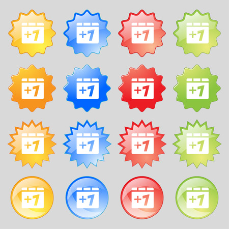 append: Plus one, Add one icon sign. Big set of 16 colorful modern buttons for your design. Vector illustration