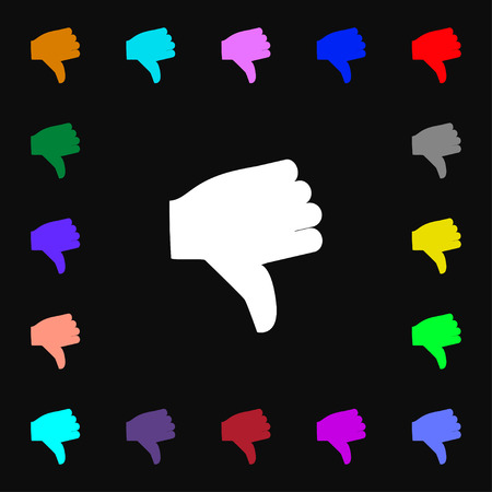 thumb down icon: Dislike, Thumb down  icon sign. Lots of colorful symbols for your design. Vector illustration