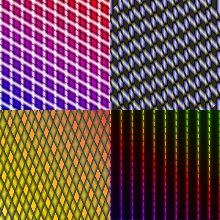 rasterized: Set of 4 colorful abstract neon backgrounds. Rasterized copy. Stock Photo