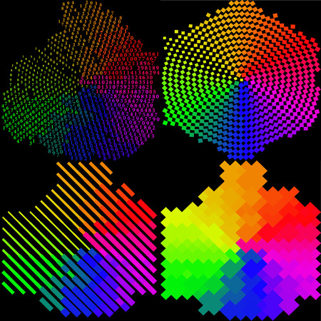 rasterized: Set of 4 multi-colored mosaic background. rasterized version.