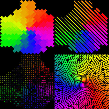 rasterized: Set of 4 multi-colored mosaic background. rasterized version.
