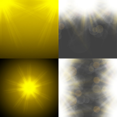 overlying: Set with four Abstract blurry background with  overlying semi transparent circles, light effects and sun burst