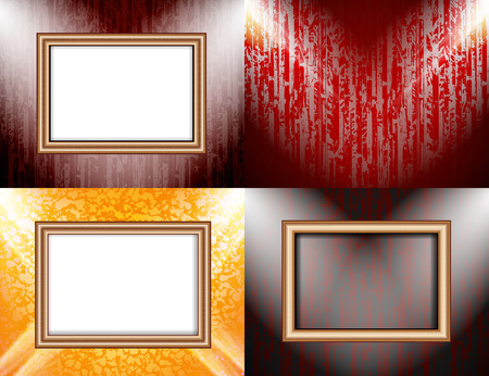 theatrical dance: Set of Blank frame on a color wall lighting, abstract colored background with spotlights.  illustration