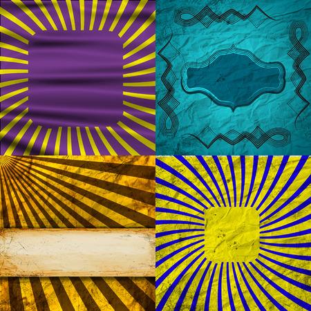 raster illustration: Set Vintage Colored Rays background. Raster illustration