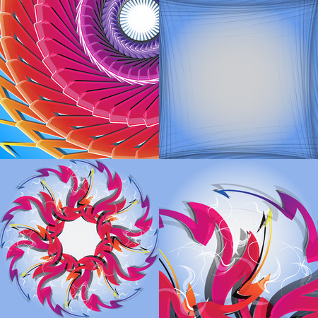 web2: Set of Abstract modern wave colorful background.  illustration