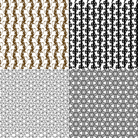 small group of objects: Set of 4 monochrome elegant patterns. ornaments. May be used as background