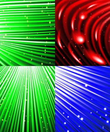 miraculous: Set of background of colourful luminous rays.  illustration Stock Photo