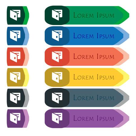 business card holder: eWallet, monedero electr�nico, tarjeta de visita icono Holder signo. Conjunto de botones de colores largos y brillantes con peque�os m�dulos adicionales. Dise�o plano. Vector