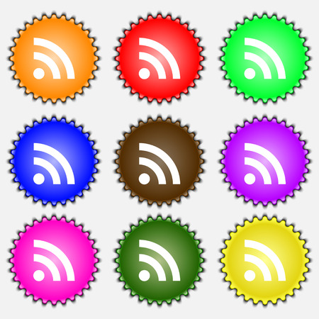 rss feed: RSS feed  icon sign. A set of nine different colored labels. Vector illustration Illustration