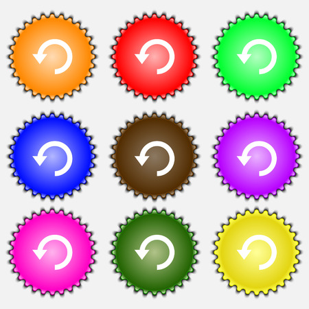 groupware: Upgrade, arrow, update  icon sign. A set of nine different colored labels. Vector illustration