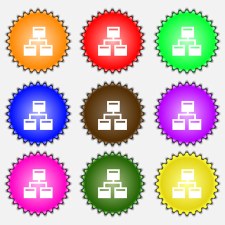 interconnect: Local Network  icon sign. A set of nine different colored labels. Vector illustration