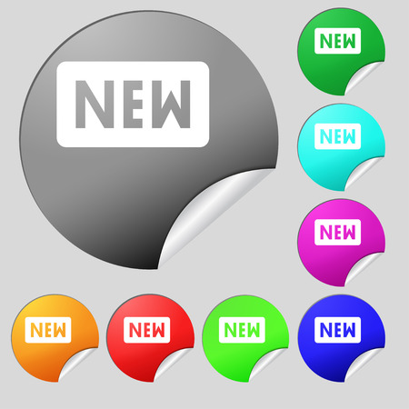 novelty: New  icon sign. Set of eight multi-colored round buttons, stickers. Vector illustration Illustration