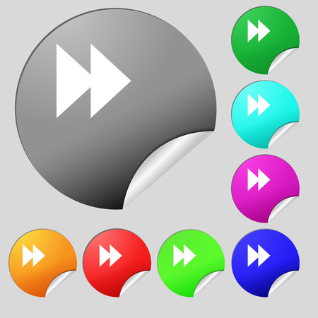rewind: rewind  icon sign. Set of eight multi-colored round buttons, stickers. Vector illustration