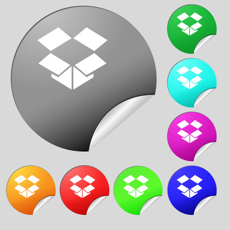 open box: open box icon sign. Set of eight multi-colored round buttons, stickers. Vector illustration