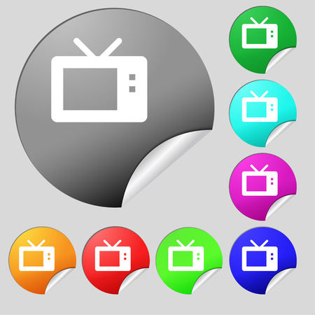 mode: Retro TV mode  icon sign. Set of eight multi-colored round buttons, stickers. Vector illustration
