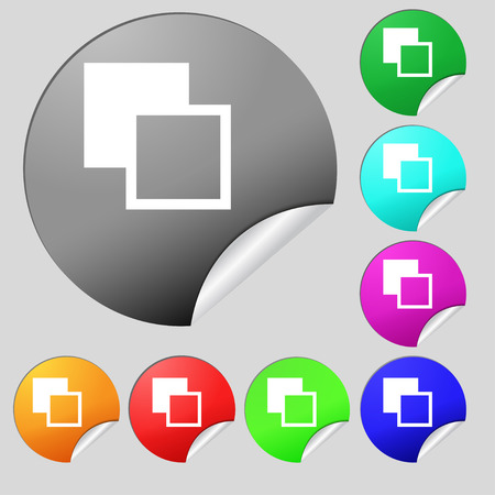 toolbar: Active color toolbar  icon sign. Set of eight multi-colored round buttons, stickers. Vector illustration