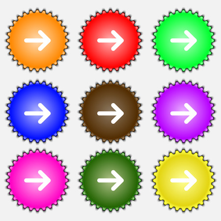 next icon: Arrow right, Next  icon sign. A set of nine different colored labels. Vector illustration