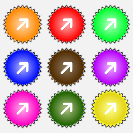expand: Arrow Expand Full screen Scale  icon sign. A set of nine different colored labels. Vector illustration