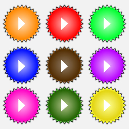 inactive: play button  icon sign. A set of nine different colored labels. Vector illustration Illustration