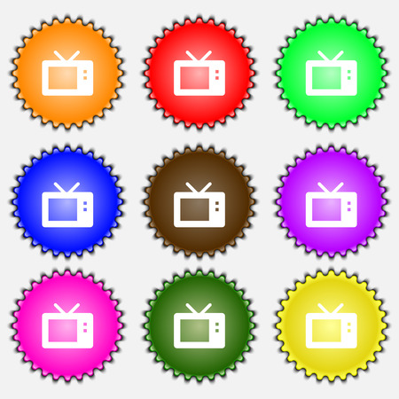 mode: Retro TV mode  icon sign. A set of nine different colored labels. Vector illustration