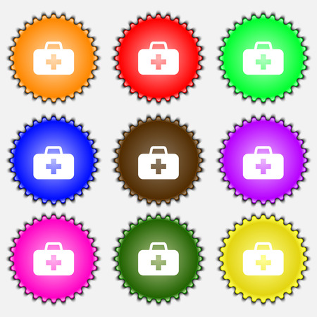 medicine chest: medicine chest  icon sign. A set of nine different colored labels. Vector illustration