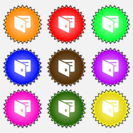 business card holder: eWallet, monedero electr�nico, tarjeta de visita icono Holder signo. Un conjunto de nueve etiquetas de colores diferentes. Ilustraci�n vectorial
