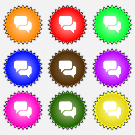 on cloud nine: Speech bubble, Think cloud  icon sign. A set of nine different colored labels. Vector illustration