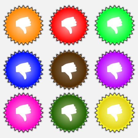 thumb down icon: Dislike, Thumb down  icon sign. A set of nine different colored labels. Vector illustration Illustration