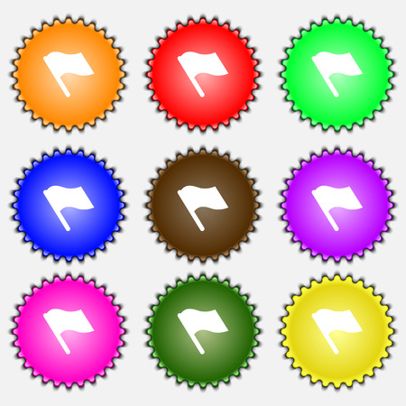 abort: Finish, start flag  icon sign. A set of nine different colored labels. Vector illustration
