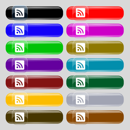 rss feed: RSS feed  icon sign. Set from fourteen multi-colored glass buttons with place for text. Vector illustration