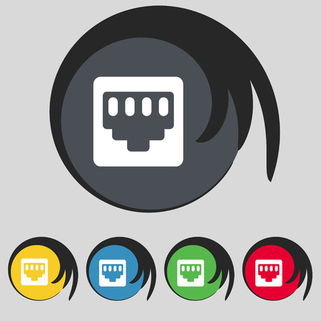 interconnect: cable rj45, Patch Cord icon sign. Symbol on five colored buttons. Vector illustration