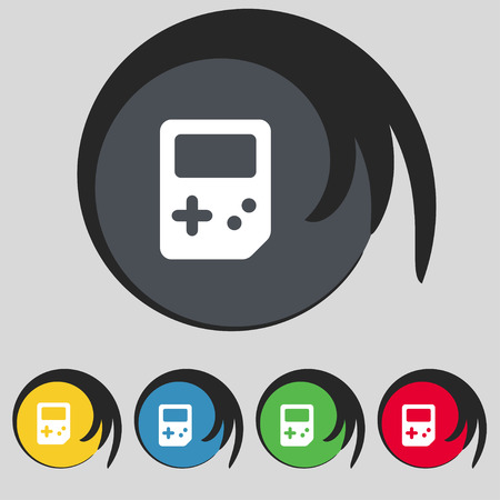 tetris: Tetris icon sign. Symbol on five colored buttons. Vector illustration Illustration