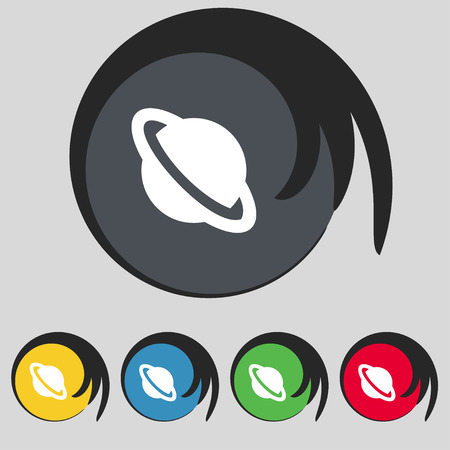 globus: Jupiter planet icon sign. Symbol on five colored buttons. Vector illustration