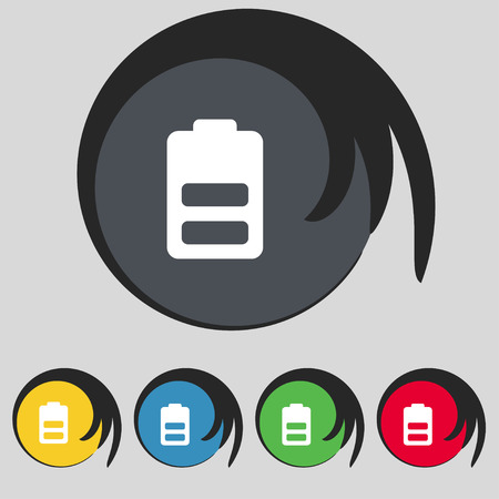 electricity icon: Battery half level, Low electricity icon sign. Symbol on five colored buttons. Vector illustration Illustration